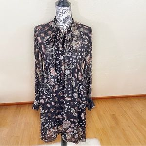 Zara Woman Tie Neck Sheer Floral Brown Dress S